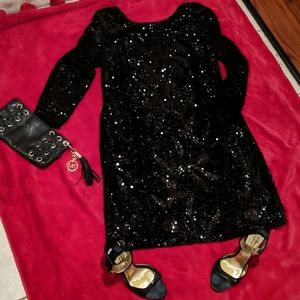 AIDAN MATTOX sequin black dress sz16